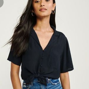 Abercrombie Fitch Blue Blouse Top Button Down M
